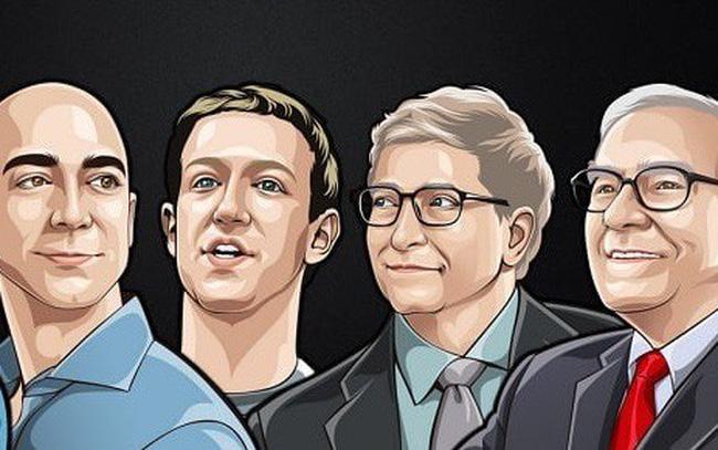 Chân dung 4 người giàu nhất thế giới. Trong ảnh từ trái qua (Jeff Bezos, Mark Zuckerberg, Bill Gates, Warren Buffett)